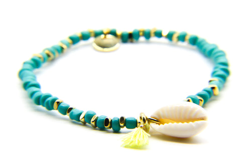 Turquoise Beach Bracelet | Cowrie Shell and Tassel | Ben's Beach