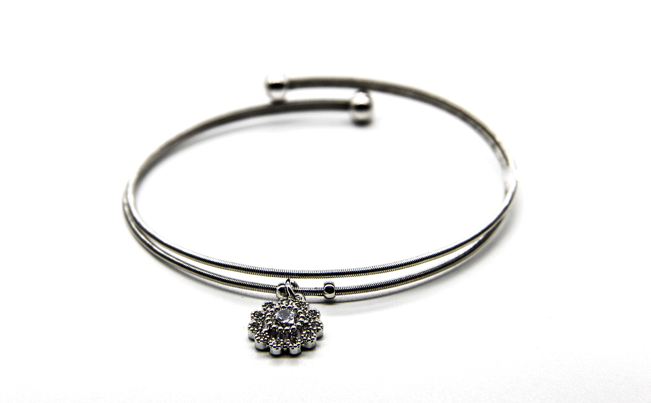 Silver Bangle | Crystal Flower Pendant | Ben's Beach