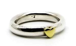 Solid Silver Ring with Brass Heart | Ben's Beach Jewellery UK