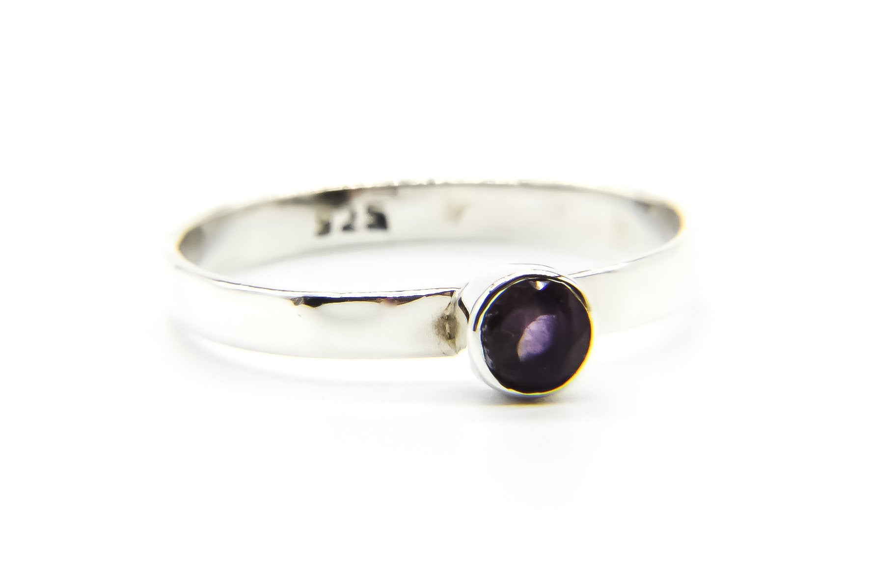 Amethyst Stone Silver Ring | Sterling Silver Ring | 925 Stacking Ring | Ben's Beach