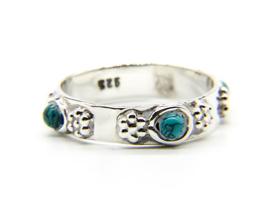 925 Sterling Silver Beach Style Stacking Ring | Turquoise Stones | Ben's Beach