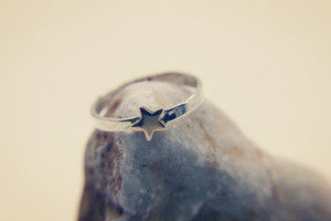 Beach Jewellery | Silver ring with a copper star | Ben's Beach Jewellery UK