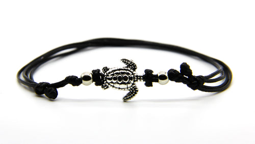Silver Turtle Anklet on Black waxed cord  | Beach Jewellery | Ben's Beach