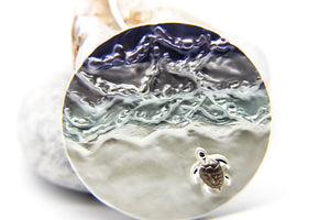 Sea Turtle Pendant | Silver Choker with Enamel Disc Pendant | Ocean-Inspired Jewellery | Beach Jewellery UK | Ben's Beach