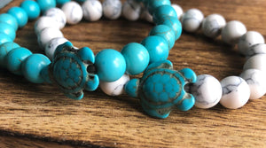Blue and White Stone Turtle Bracelets | Ben's Beach