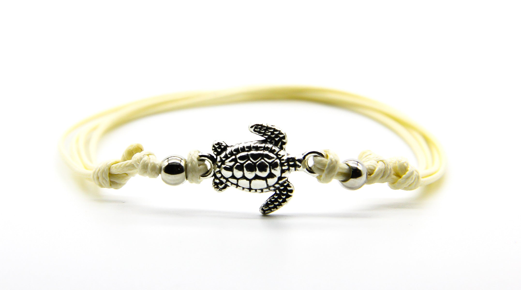 Silver Turtle Anklet (Cream)