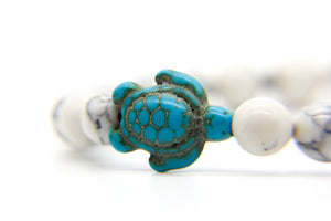 Turtle Bracelet | beach jewellery | white ceramic beads and a blue stone sea turtle | Ben's Beach