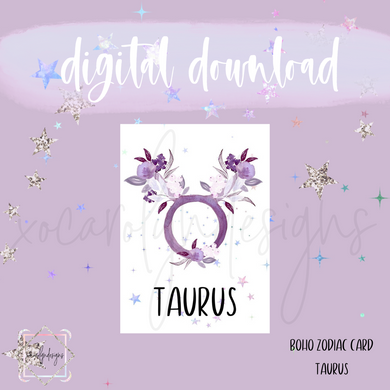 DIGITAL: Boho Zodiac TAURUS Card