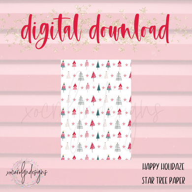DIGITAL: Happy Holidaze Star Tree Paper (A5 Wide Rings)