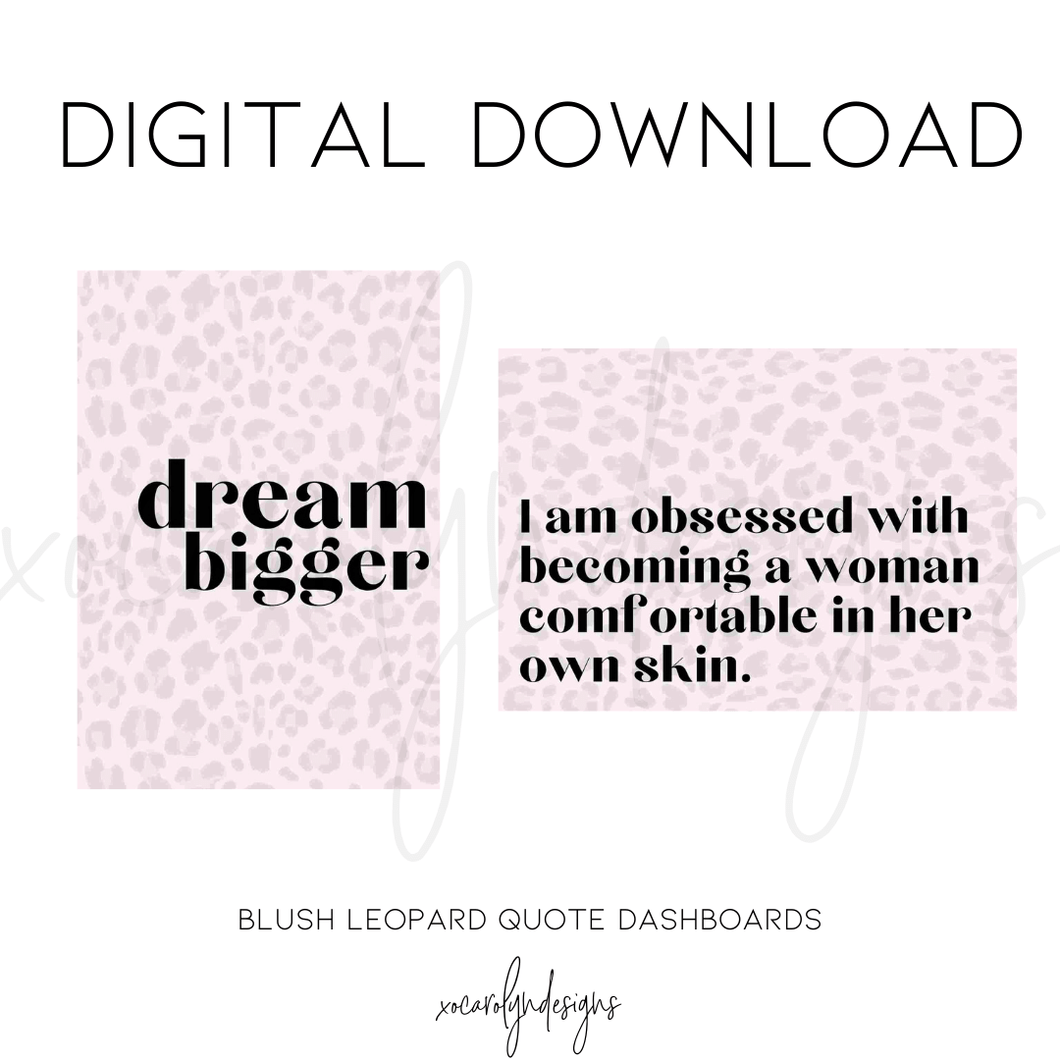 DIGITAL: Blush Leopard Quotes (A5 Rings)