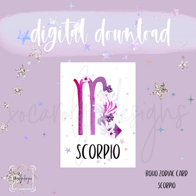 DIGITAL: Boho Zodiac SCORPIO Card