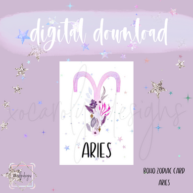 DIGITAL: Boho Zodiac ARIES Card