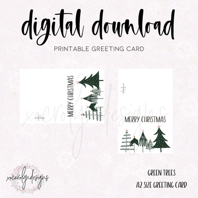 PRINTABLE GREETING CARD: Merry Christmas Green Trees