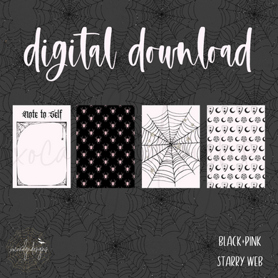 DIGITAL: Black+Pink Starry Web (A6 Rings)