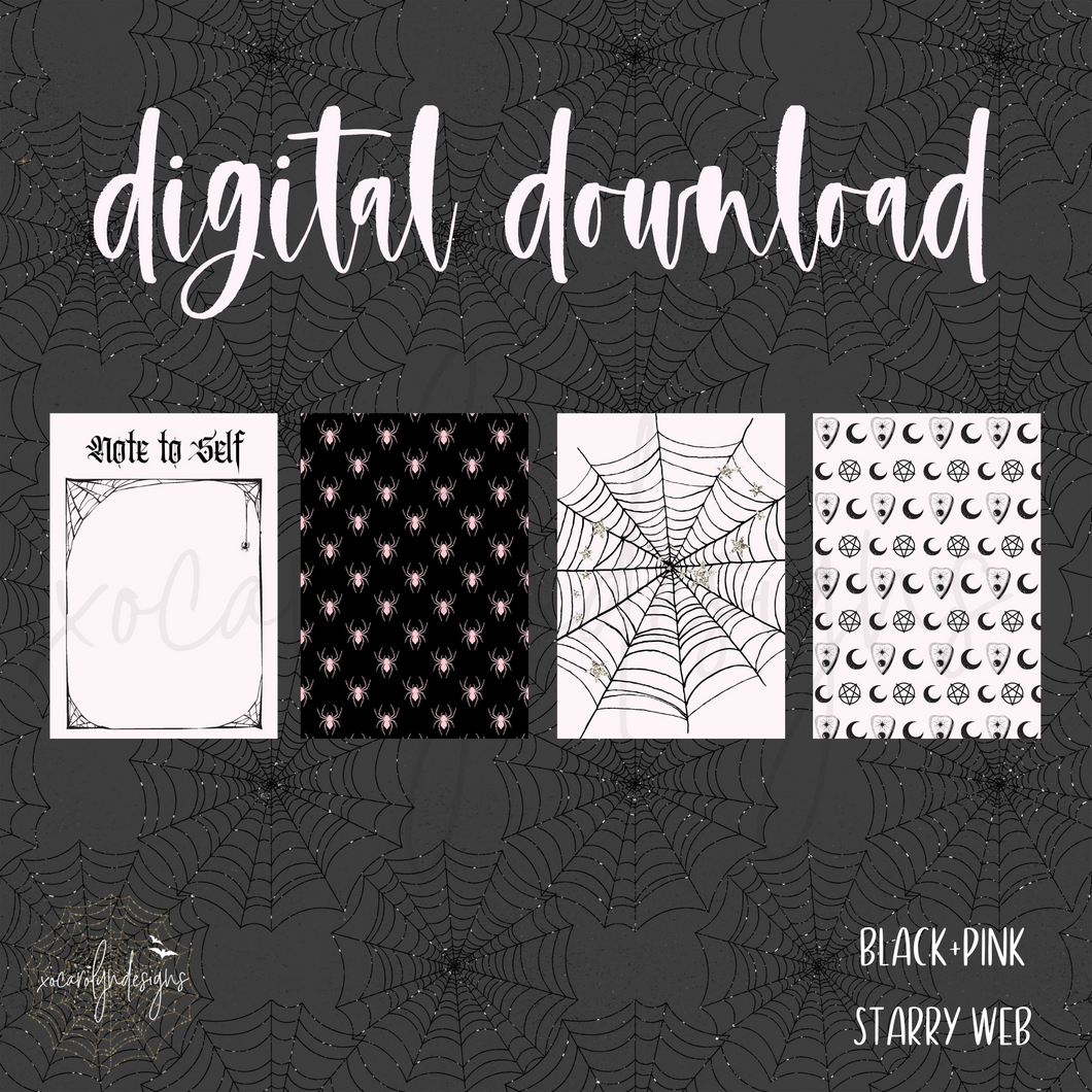 DIGITAL: Black+Pink Starry Web (A5 Wide Rings)