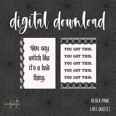 DIGITAL: Black+Pink Lace Quotes (Mini HP)