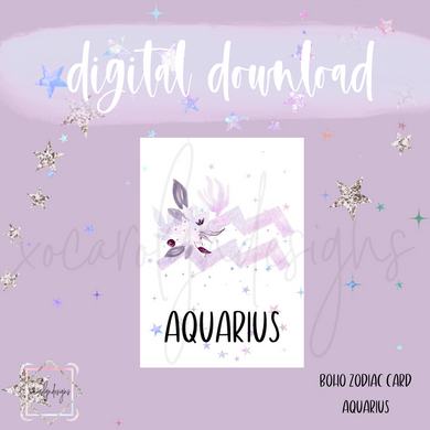 DIGITAL: Boho Zodiac AQUARIUS Card