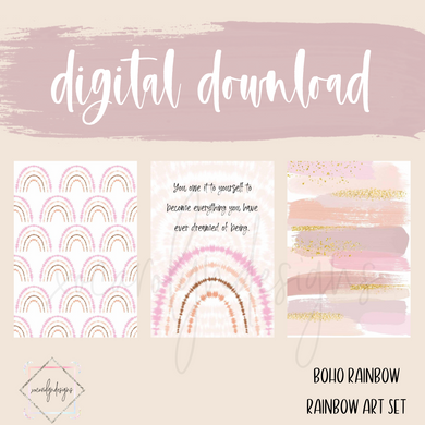 DIGITAL: Boho Rainbow Art Deco Set (A5 Wide Rings)