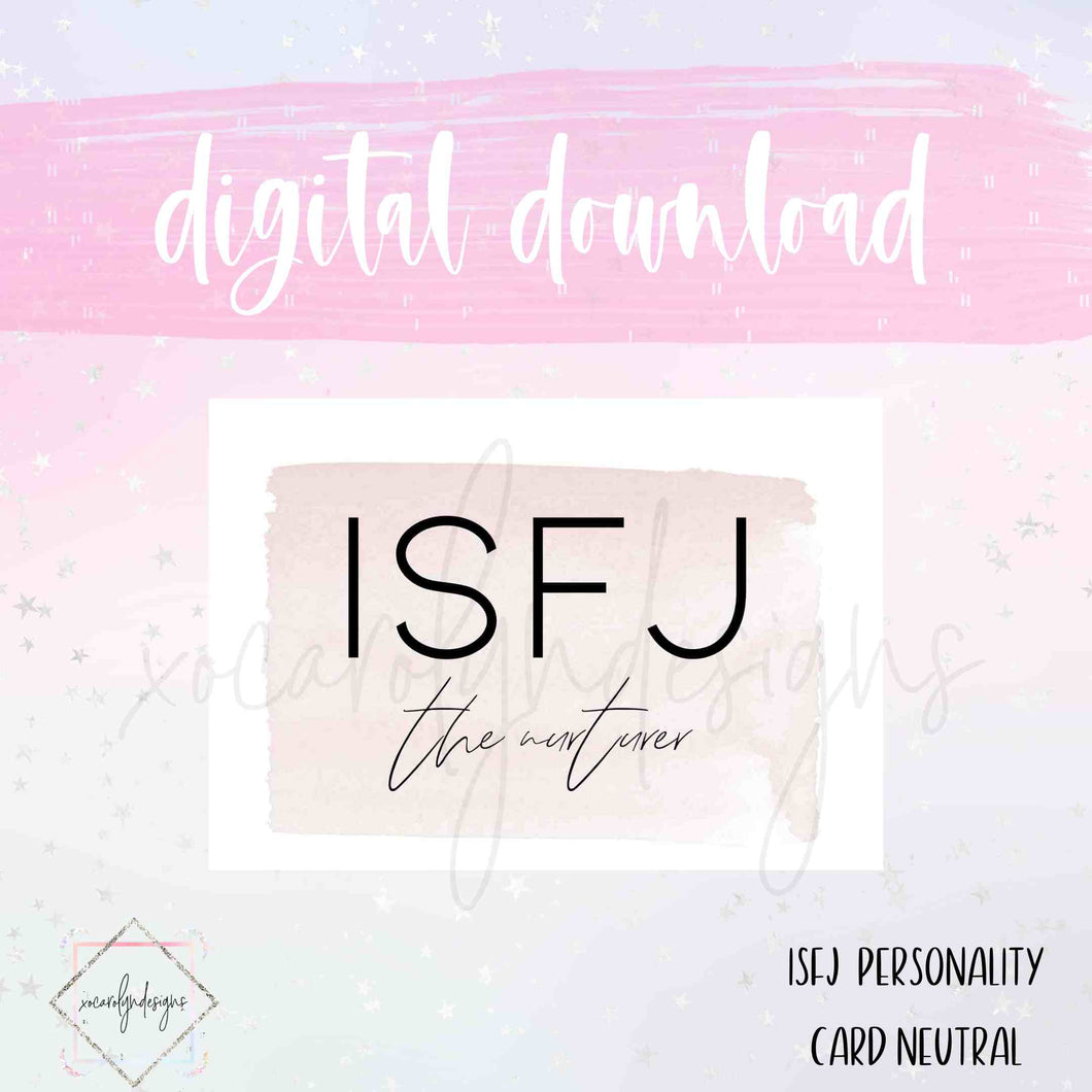 DIGITAL: ISFJ - The Nurturer Neutral (A5 Wide Rings)