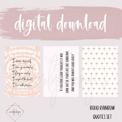 DIGITAL: Boho Rainbow Quotes Deco Set (Pocket Rings)