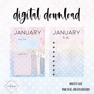DIGITAL: Winter Luxe Pink/Blue JANUARY Dash (A5 Rings)