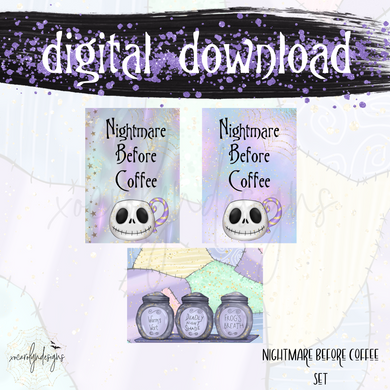 DIGITAL RCD COLLAB: Nightmare Before Coffee Set (A6 Rings)
