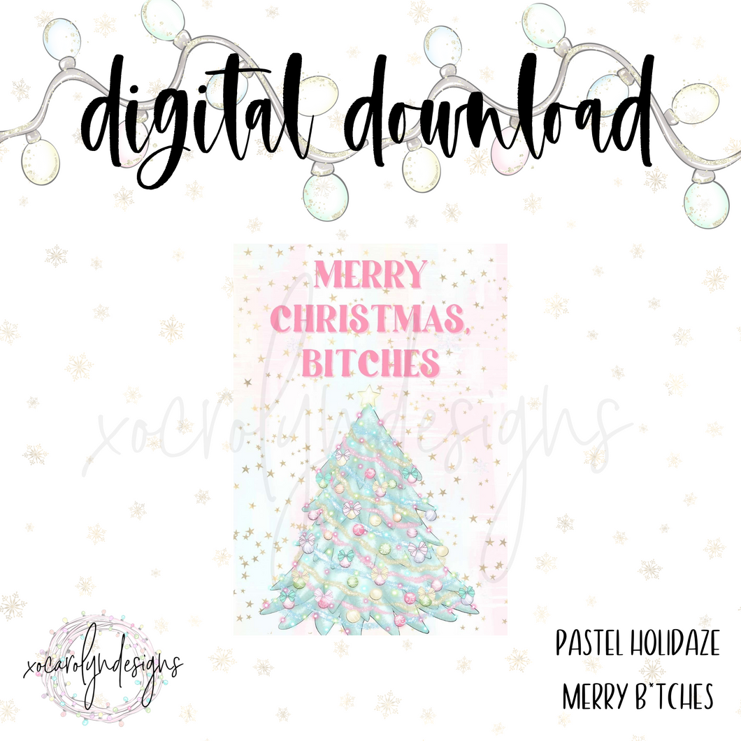 DIGITAL: Pastel Holidaze Merry B*tches (A5 Wide Rings)