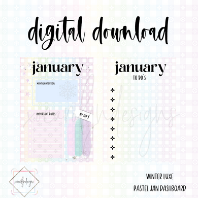 DIGITAL: Winter Luxe Pastel JANUARY Dash (A5 Wide)
