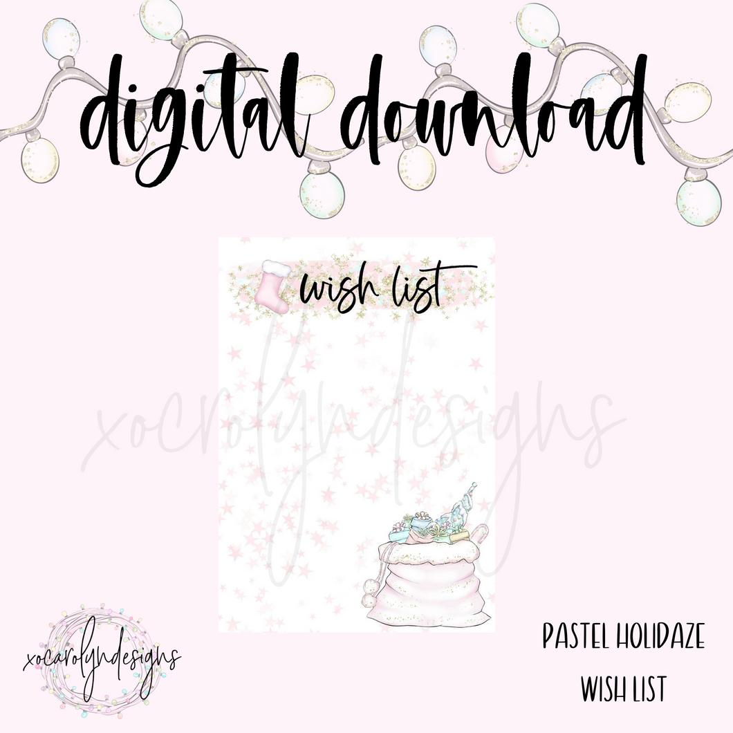 DIGITAL: Pastel Holidaze Wish List (A5 Rings)