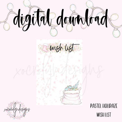 DIGITAL: Pastel Holidaze Wish List (A5 Wide Rings)