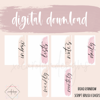 DIGITAL: Boho Rainbow Brush Strokes Script (Pocket Plus Rings)