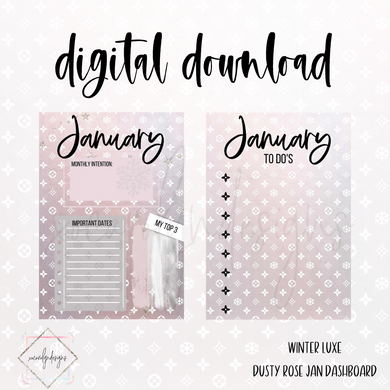 DIGITAL: Winter Luxe Dusty Rose JANUARY Dash (A5 Wide)