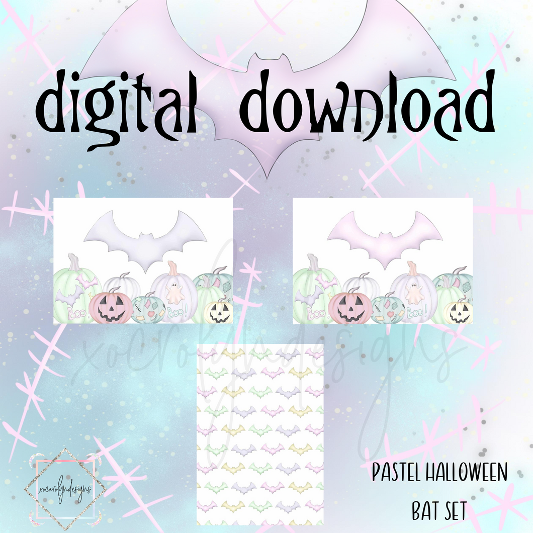 DIGITAL: Pastel Halloween Bat Set (A5 Wide Rings)