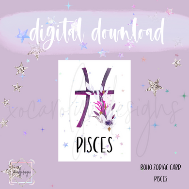 DIGITAL: Boho Zodiac PISCES Card