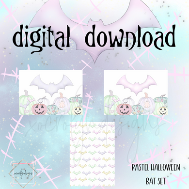 DIGITAL: Pastel Halloween Bat Set (Pocket Plus Rings)