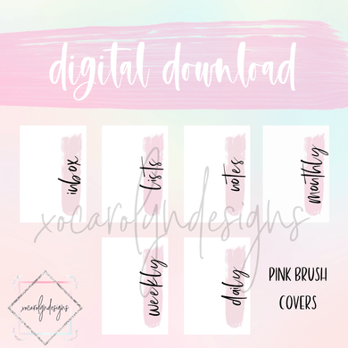 DIGITAL: Pink Brush Covers Set (B6 Rings)