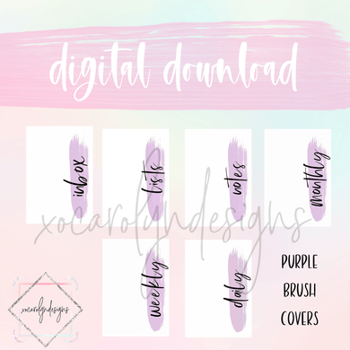 DIGITAL: Purple Brush Covers Set (A5 Wide Rings)