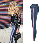 Low waist side gold stripe skinny jeans - Easy2cart.com