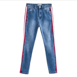 Ankle-length high waist side red striped jeans - Easy2cart.com