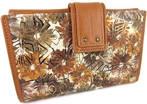 100% Genuine High Quality Leather Purse / Wallet for Women, Handmade by Craftsmen, Made in Spain. (16 x 11 x 2 cm) Boxed, Floral Brown