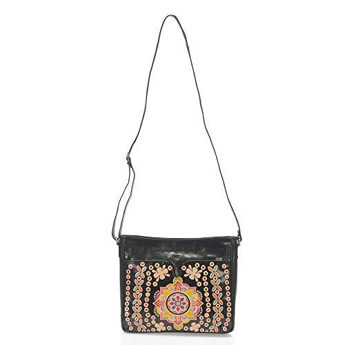 100% Genuine Leather Black Colour Handpainted Multicolour Abstract Pattern Cross Body Women's Ladies Handbag with Adjustanble Strap (Size 30x24x6 Cm), a Perfect Summer Gift for Women and Girls