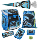 '9 Piece Set With Pencil Case School Bag 70 cm, Gym Bag, School Bag Set Rain/Security Cover NEW