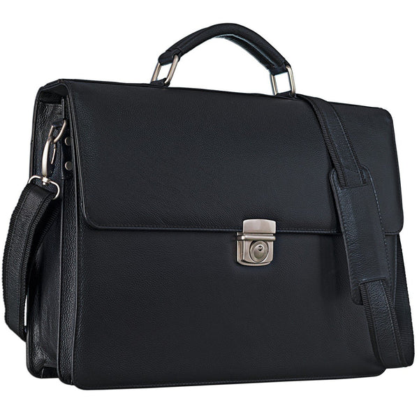 'STILORD 'Robert' Leather Briefcase with 15.6 inches Laptop Compartment Portfolio Men & Women Classic Design Business Work Bag Leather Black, Colour:Black