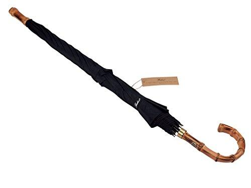 (Designed in Britain) Balios® Handmade Bamboo Whangee Walking Stick Double Canopy Umbrella Windproof Fiberglass Strong Frame, Auto Open, Quality Crook Handle, 300T Finest Fabric, Classic BLACK