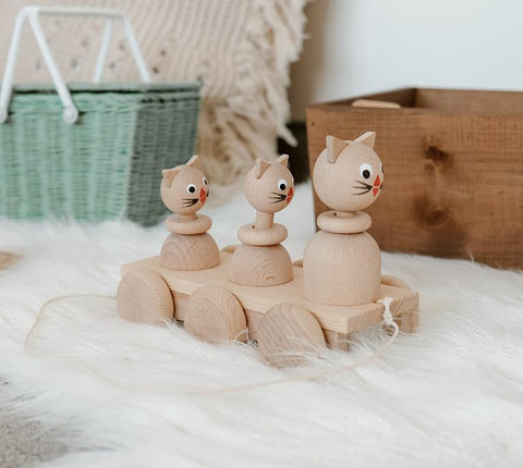 Wooden Pull Along Cat Family
