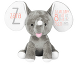 Personalised Elephant Plush - Birth Details