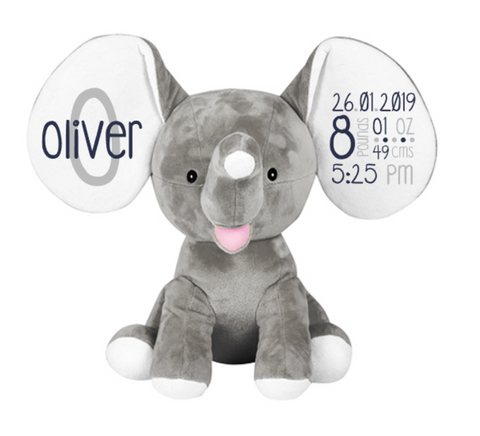 Personalised Elephant Plush - Birth Details (Clearance)