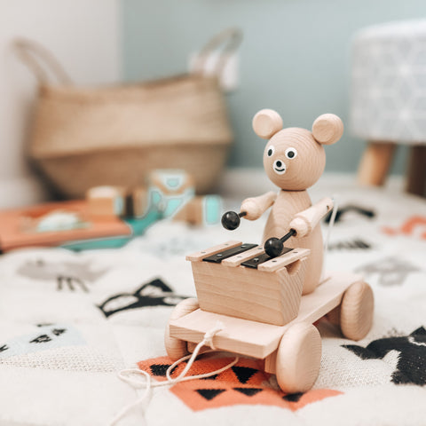 Wooden Pull Along Bear With Xylophone - Baxter