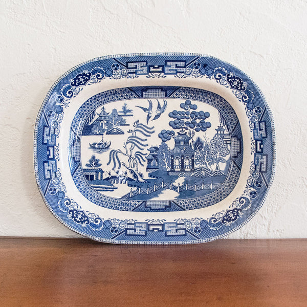 Antique Blue Willow Buffalo Pottery Platter- Large