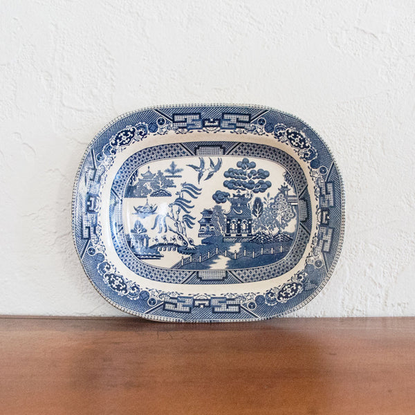 Antique Blue Willow Buffalo Pottery Platter- Small